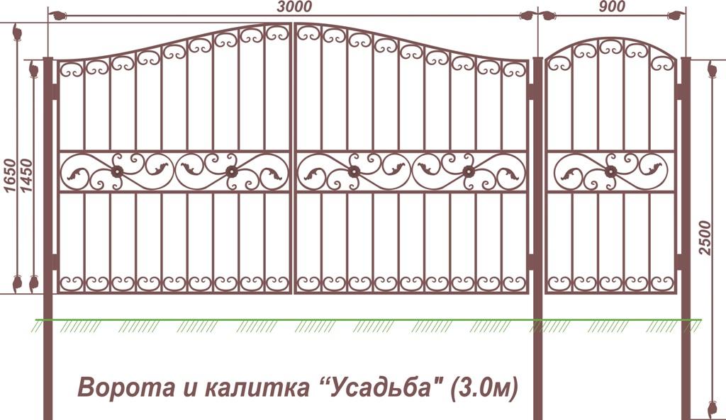 ворота усадьба (3м)